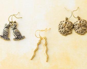 Wild Animal Buffalo Bison Snake Owl Charm Earring Set, Woodland Jewelry