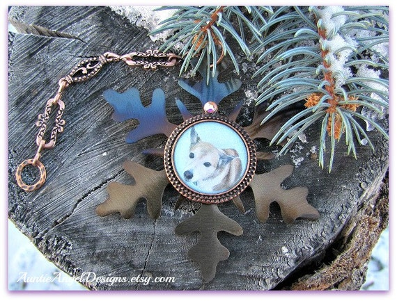Snowflake Photo Ornament, Custom Pet Ornament, Pet Photo Ornament, Family Photo Memorial, Pet Condolence Gift, Stamped Photo Ornament