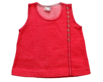 FRENCH VINTAGE 60's / baby dress / tunic dress / bright red wool jersey / new old stock / size 6 months
