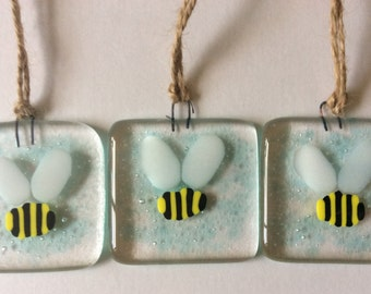 Fused Glass Bumble Bee Small Sun Catcher Hanging Gift Decoration