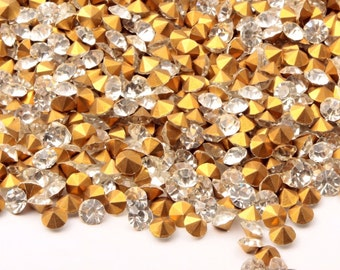 Lot (1400) 4mm vintage Czech foil mirrored crystal glass rhinestones 347-813