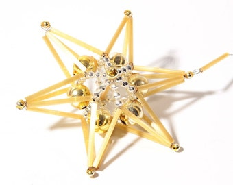 Czech blown glass satin beaded star Christmas tree ornament bauble decoration 100-21