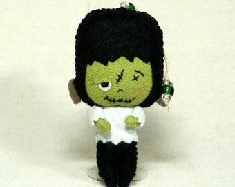 Felt Frankenstein's Monster Doll Ornament, One Eye Frankie Doll, Wool Felt Halloween Plushie Decoration *Ready to Ship