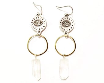 Eye Wish Earrings with Quartz Crystals and Silver Evil Eye Charms