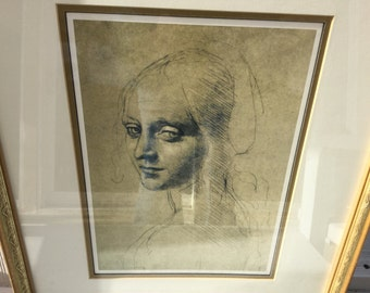 """Da Vinci Head of a Young Woman, Vintage Lithograph Professionally Framed, measures 16"""" x 19"""", Gorgeous c. 1960's"""