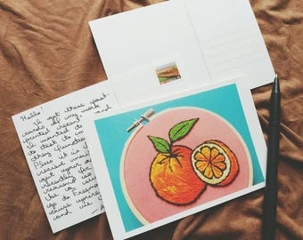 Postcard // Oranges on Coral Glossy Postcard of Original Hand Embroidered Hoop Art