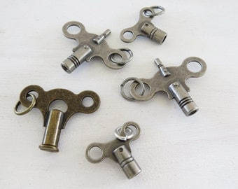 5 Skate Key Charms- Key charm assortment- silver tone and brass 2 sizes