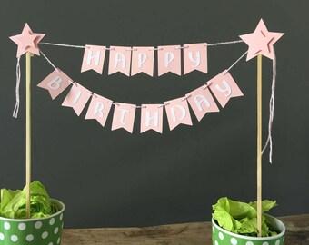 Happy Birthday cake topper bunting, happy birthday banner. Cake decorations. I am one banner, Christening, Anniversary cake topper
