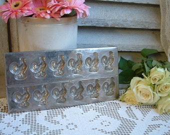 French vintage chocolate mold. French rooster. Chocolate candy mold. Easter chocolate. Christmas chocolates. Bastille day. Farm animals