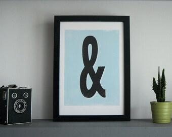 Ampersand print - monogram print, letterpress type