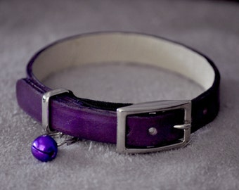 Monty Selection Purple Leather Cat Collar