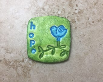 Handmade rustic bright green faux stoneware polymer clay square focal pendant cabochon - hope and blue bird