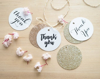 White Thank You Tags Rose Gold Glitter for Wedding Favours - Pack of 30