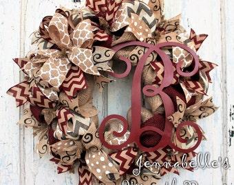 Burlap Wreath, Chevron Burlap, Shabby Chic, Painted Monogram Letter, Burgundy, Creme, Black