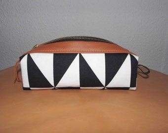 PAULETTE black/white pencil-case, cosmeticbag made of cotton and leather