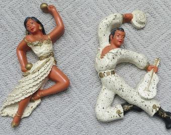 1954 Hand Painted Latin Dancers Mid Century Ceramic Wall Hangings -Universal Statuary