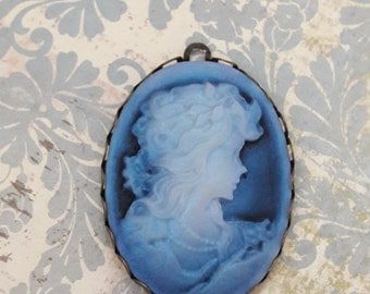Antique Blue Cameo Pendant Charm Jewelry Supplies