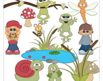DIGITAL SCRAPBOOKING CLIPART - Day At The Pond