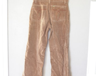 vintage LEE'S distressed tan velvet bell bottoms jeans 30