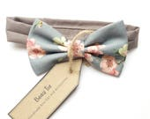 Baby boys bow tie kids bow tie floral bow tie pink and grey bow tie