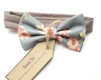 Baby boys bow tie, kids bow tie, floral bow tie, pink and grey bow tie