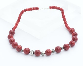 Beautiful Red Coral  and silver Bead Necklace, Beaded Coral Necklace, Sterling Silver Necklace, Natural Coral Bead Necklace, Red Necklace