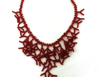 Vine Red Necklace. Gift For Her. Bridesmaids Necklace. Beadwork.