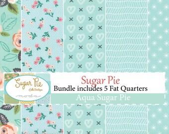 Sugar Pie Aqua Fat Quarter Bundle includes 5 fat quarters by Lella Botique for Moda Fabrics