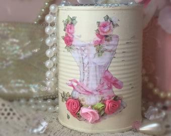 Shabby Chic Ivory Painted Tin Can Vintage Decoupage Corset Satin Rosebuds Vase Vanity Boudoir Decor Make Up Brush Holder OOAK Gift Idea