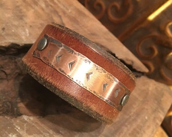 Leather and Copper Cuff