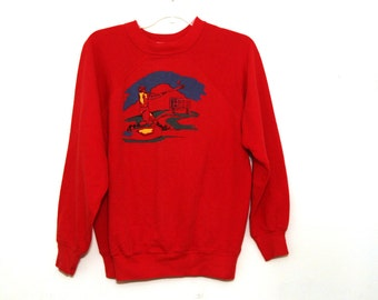 Vintage 80s sweatshirt puffy paint baseball primary colors