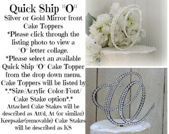 O Wedding Cake Topper, Gold O Cake Toppers, Initial O cake topper letter, Bling O Cake Topper, Swarovski Crystals, Ships in 1-2 weeks