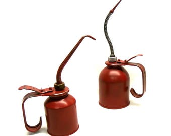 Art by Accident Vintage Pair Oil Cans Oil Pumpers Clean Industrial Garage Decor Petroliana Clean and Display Ready