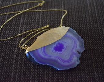 Agate slice necklace purple agate slice necklace, gold agate slice necklace