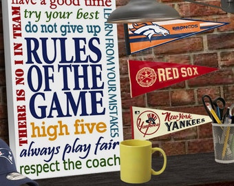 Rules of the Game Canvas Sports Signs for Boys Room Signs Teen Wall Art Sports Wall Art Sports Rules Teen Wall Decor Man Cave Decor