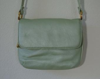 Mint Metallic Cross Body Shoulder Bag Festival Bag Organizer by Coletta Mint Green