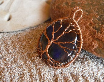 Tree of life necklace Copper wire wrapped jewelry Fused glass pendant Gifts for her Wearable art Gecko glass art Copper tree of life