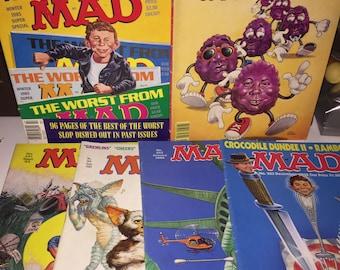 6 Vintage 1980s MAD Magazines, 1985 Winter Super Special, no.241 9 '83, no.249 9 '84, no.252 1 '85, no.281 9 '88, no. 283 12 '88