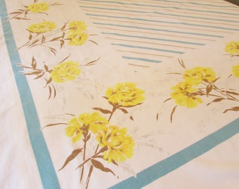 Vintage Kitchen Tablecloth - 52 Inches by 60 Inches