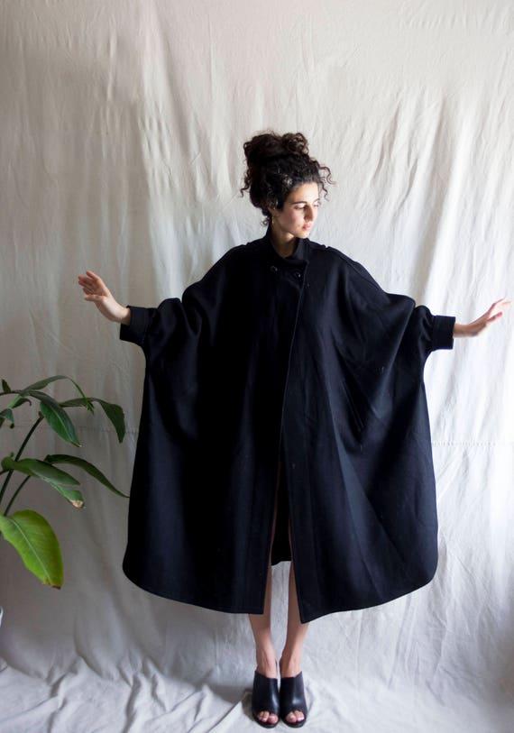 Black Beetle Soft Wool Poncho Coat
