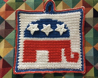 Republicans' elephant logo pot holder pattern - INSTANT DOWNLOAD