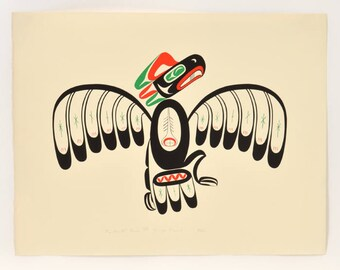 Vintage 1982 George David Native Raven Print 20 x 26 Signed and Numbered
