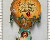 valentine decoration, card, hot air balloon, vintage, antique postcard, victorian ornament #8