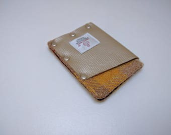 HARRIS TWEED small card holder/wallet - One Off Lizard print real leather