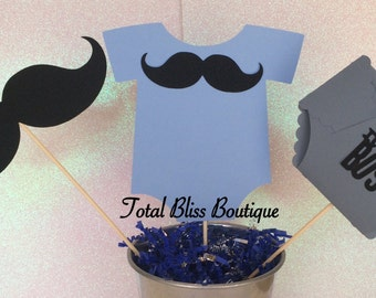 Little Man Baby Centerpiece, Boy Baby Shower Decorations, Mustache Party  Favors, Bow Tie