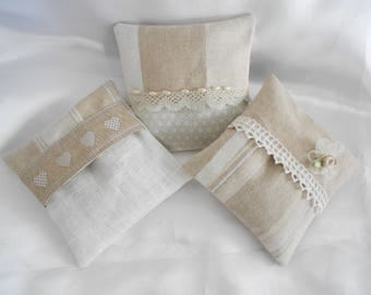Lavender SACHET: 3 mini removable cushions filled with Lavender - Shabby white and Taupe
