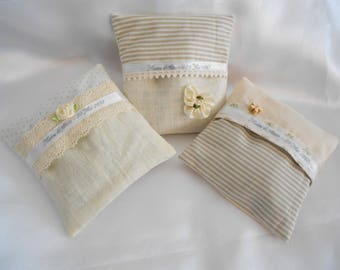 Lavender: 3 mini cushions filled with lavender, personalized and DEHOUSSABLES - Shabby Chic White/Beige/ivory