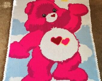 Crocheted Tenderheart Care Bear Blanket