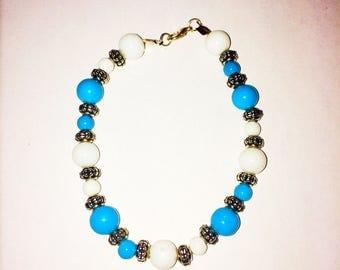 Something blue bracelet. Wedding bracelet, Blue and White bracelet,