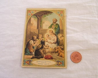 Antique Holy Prayer Card Nativity Religious Ephemera 19th Century by L B Depose